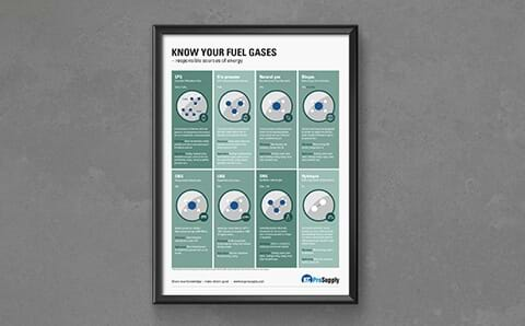 image of a frammed poster with fuel gases descriptions