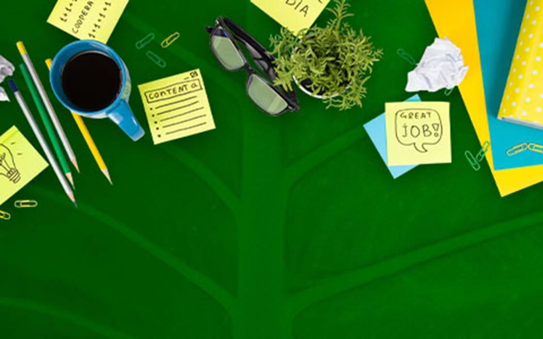 image of an office desktop with paper, a cup of coffee, clips etc
